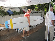 Surfer leaving before Penny Lane party